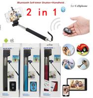 Z07-1 Handheld selfie stick Monopod + Bluetooth wireless Remote Shutter + Phone Holder Clip For Htc iphone samsung,8pcs/lot