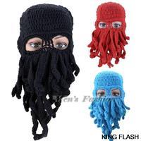 2014 New Fashion Cool Beanies Funny Beard Octopus Knitting Wool hats Mask Winter Warm Ski Cool Cap for Men SV010301 3F