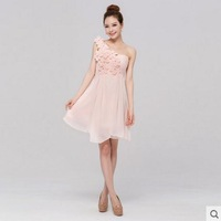 One Shoulder flowers pink bridesmaid dress short paragraph dress
