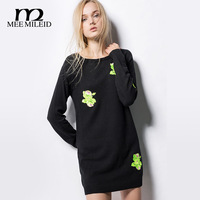 Mee for mile id2014 fashion women's medium-long pullover slim hip rose embroidery sweater