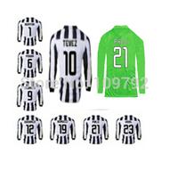 2014-2015 long sleeve soccer jersey 23 VIDAL 21 PIRLO 9 Morata 10 TEVEZ 8 MARCHISIO 6 POGBA 3 CHIELLINI Football shirt