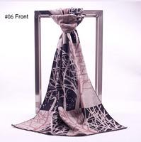 Retro Cotton Print Tree stems Design Women's Scarf Autumn two-sided Woven Shawl Wraps 195x65cm #6