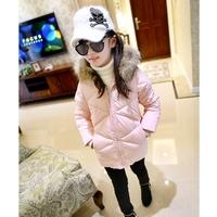 Girl  winter wadded jacket children pink thickening fur collar girl's cotton-padded outerwear