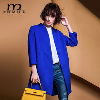 Mee for mile id2014 solid color fashion behind the unique placketing wool wool coat