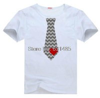 Tie Valentines Day Chevron Tie Heart  t shirt for kid Boy Girl clothing  top  clothes cartoon tshirt Dress