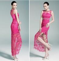 Romantic Lace vestido de renda Exqusite Crystal Belt Sleeveless Evening Dress to Party vestido de festa Evening Dresses