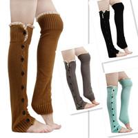 NEW Hot Girls High Boot Knitting Socks Women Crochet Leg Lace Trim Flat Cuffs Knit Warmers Knee Gaiters Boot Socks 851958