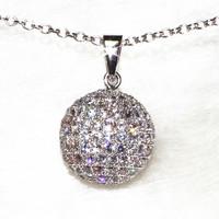 Full Cubic Zirconia Ball Pendant Necklace Women's Fashion Jewelry Pure Handmade 171 Stone Grain