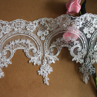 11 yards * 14 cm Width Ivory Bridal Sequined Embroidery Alencon Lace Trim
