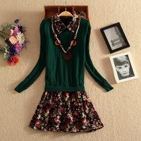 Women Patchwork Knitted Dress New 2014 Korean Fashion Autumn Winter Floral Printed Novelty Dresses Knitwear Vestidos de festa