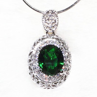 Zircon Green Crystal Stone Platinum Plating Necklace Wholesale Can Custom Color On The Stone