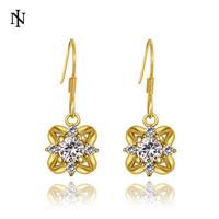 New Arrival Fashion Design Earrings For Women 18k gold earrings for lady Shiny CZ Crystal Drop Earrings High Quality KE1013-A