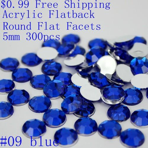 $0.99 free shipping many colors 5mm 300pcs acrylic flat back round flat facets acrylic rhinestone glue on beads decorate DIY(China (Mainland))