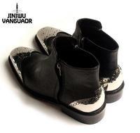 jiniwu 45 46 plus size  fashion men's sqare toe genuine leather carved autumn black flats catwalk metal head ankle martin boots