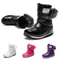 Children boots girl boy snow boots 2014 Latest zipper thicken plush thermal antiskid waterproof black winter shoes kids boots