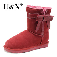 2014 winter women's fashion bow patchwork cowhide leather knee-high snow boots free shipping