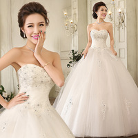 2014 diamond decoration princess tube top slim wedding bride wedding dress