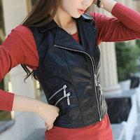 leather vests women fashion 2014 PU leather vest winter belt patterns motorcycle vest slim outerwear Waistcoat Jacket in Stock