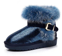 Quanlity Rabbit Fur Children boots cony hair snow boots warm  Russian boots 2014 fashion winter boys girls kid shoes