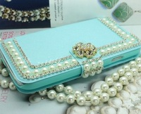 Bling 3D Pearl Diamond Rhinestone Stand Wallet Leather Case Cover For Samsung Galaxy S5 i9600 Flip Case 1 pcs Free Shipping..