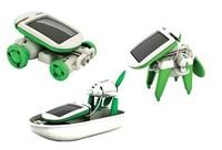 6pcs!Free Shipping 2014 child birthday Gift 6 in 1 Educational Solar toys,DIY remote control toys car dog windwill whol