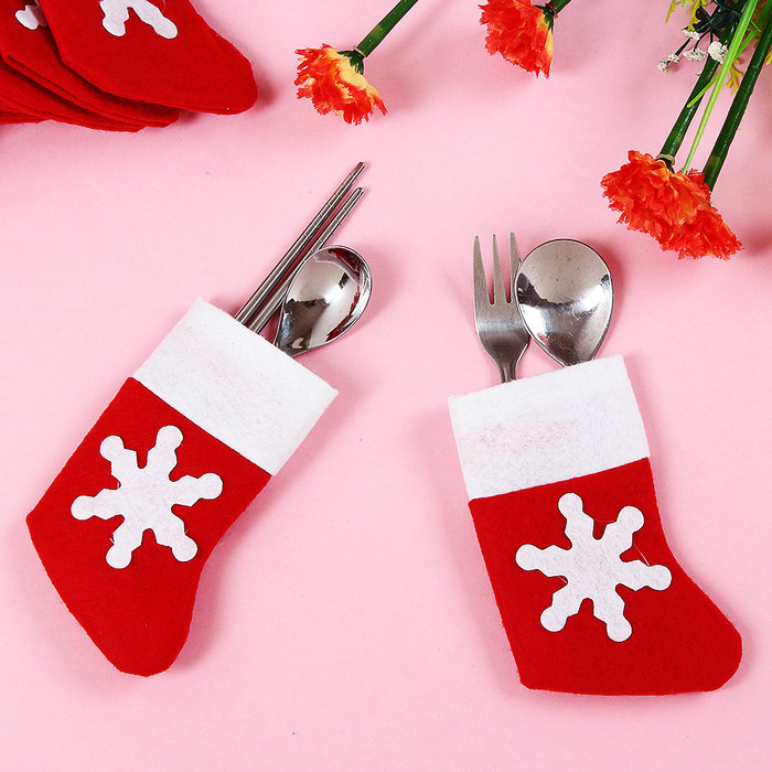 12 PCS/Set Santa Sliverware Bag Christmas Decoration Dining Table Knife Fork Restaurant Enfeites Tableware Bags(China (Mainland))