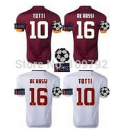2014-15 UEFA League shirt #10 TOTTI jersey soccer 14 15 home red away white DE ROSSI DESTRO BRADLEY Football shirt UCL + Respect