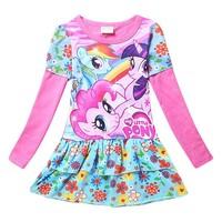 New Brand Kids Girls Dress Cartoon Spring Girl Long sleeve Dresses Vestido Infantil Princesa For My Little Pony Costume ADS14251