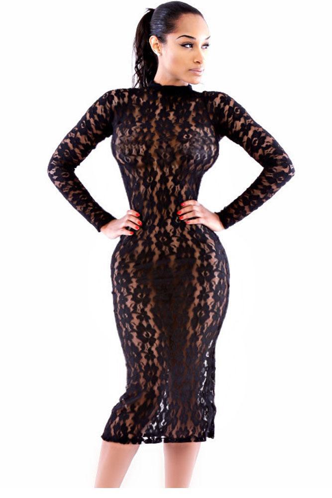 Платье облегающее полые длинный рукав, женщин   платья вечернее ночной клуб черный чистой кружево воротник-лодочка миди платье LC6862