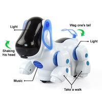 wholesaleFree shipping Electric robot dog electronic pet dog toys music shine pet Music Lights Walking Puppy Toys