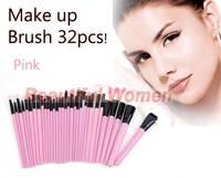 2014 New Arrivals 32 PCS Makeup Brush Set Cosmetic Brush Pencil Lip Liner Make Up Kit Holder Bag Pink SV004464