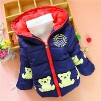 Kids boys 2014 winter new fashion cotton printed cotton Winnie the zipper Tong