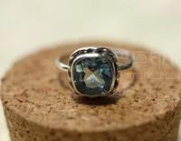 India Nepal sky blue square sterling silver handmade big topaz ring