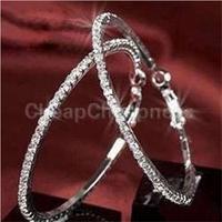 2014 New Fashion Elegant Round Crystal Beaded Hoop Earrings for Women Silver Hoop Earrings Party Earrings Women Fashion Jewelry