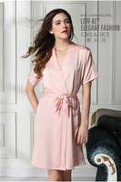 Ladies Long Satin Feel Kimono Robe Dressing Gown Sexy Silk Pajamas Bathrobe Hollow Nightgown Women  M L F50