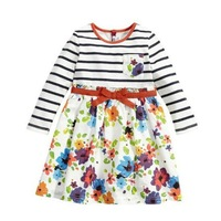 girls dresses summer 2014 Long sleeve stripe floral Pure color christmas dress free shipping