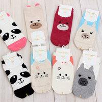 6 Pairs  Women Girls Big Kids Socks Fashion D Sock Cartoon Animals Cute Character Socks CottonMix Colors Free Shipping