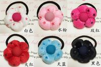 6pcs Cloth art the bulb candy color floret hair bands, rubber band rope children's headdress hair accessories