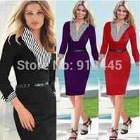 Elegant Long Sleeve Women Autumn Dress Brief Casual Black Red Winter Dress Vestido Strip Bodycon Professional Office Dress LYQ19
