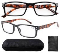 R057 Spring Hinge Retro Wayfarer Style DEMI Arm Reading Glasses with Case +1.0/+1.25/1.5/1.75/2.0/2.25/2.5/2.75/3/3.5/3.25