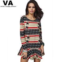 4Xl Plus Size Women Dresses Long Sleeve Star Printing Pleated Dresses 2014 New Autumn Fashion Woman Mini Dress 4xl 3xl P00053