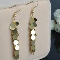 1Pair Free Shipping Women 2014 New Fashion Long Dangle Round Shape Drop Tassel Earrings Gold Color