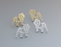 Wholesale Gold Silver Tiny silver newest Animal Cute French Bulldog Stud Earring For Women