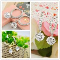2014 New Design Austrian Zircon Crystal Rhinestone Shining Drop Earrings For Women Jewelry Free Shipping