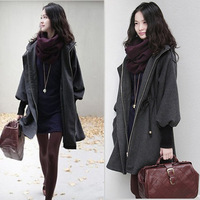 2014 autumn and winter female outerwear fashion drawstring waist hooded overcoat woolen outerwear