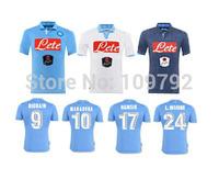 2015 Napoli soccer jersey 14 15 Napoli home blue away white 3rd Navy HAMSIK HIGUAIN INSIGNE CALLEJON Football shirt thai quality