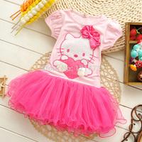 KT Cat Lace Flower Edge Dress Latest Girls' Tutu Dress Princess Party Dress Cartoon Cheap Christmas Dresses Free Shipping