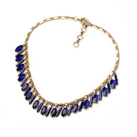 Noble Elegant Women Party Accessories Blue Imitation Gemstone Collar Necklace Fashion Bijoux for Women