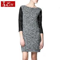 ECW  2014 Women Dresses Autumn Winter Base Dress Vintage Knitting Women Dress Slim Splice PU Leater Sleeve Casual Dress