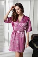 Sexy Robe Two-piece Nightgown Straps Suspenders Floral Sleepwear Pajamas Women Nighty Gown Short Sleeve XL 2XL   F50